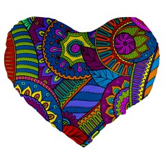 Pop Art Paisley Flowers Ornaments Multicolored Large 19  Premium Flano Heart Shape Cushions by EDDArt