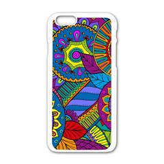 Pop Art Paisley Flowers Ornaments Multicolored Apple Iphone 6/6s White Enamel Case