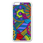 Pop Art Paisley Flowers Ornaments Multicolored Apple iPhone 6 Plus/6S Plus Enamel White Case