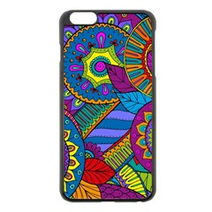 Pop Art Paisley Flowers Ornaments Multicolored Apple Iphone 6 Plus/6s Plus Black Enamel Case