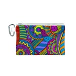 Pop Art Paisley Flowers Ornaments Multicolored Canvas Cosmetic Bag (S)