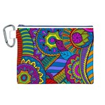 Pop Art Paisley Flowers Ornaments Multicolored Canvas Cosmetic Bag (L)
