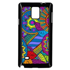 Pop Art Paisley Flowers Ornaments Multicolored Samsung Galaxy Note 4 Case (black) by EDDArt
