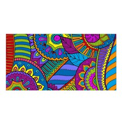 Pop Art Paisley Flowers Ornaments Multicolored Satin Shawl