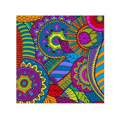 Pop Art Paisley Flowers Ornaments Multicolored Small Satin Scarf (square) by EDDArt