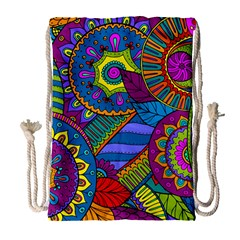 Pop Art Paisley Flowers Ornaments Multicolored Drawstring Bag (large)
