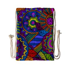 Pop Art Paisley Flowers Ornaments Multicolored Drawstring Bag (small)