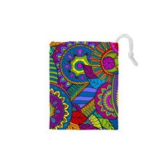 Pop Art Paisley Flowers Ornaments Multicolored Drawstring Pouches (xs)  by EDDArt