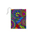 Pop Art Paisley Flowers Ornaments Multicolored Drawstring Pouches (XS)  Back
