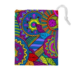 Pop Art Paisley Flowers Ornaments Multicolored Drawstring Pouches (extra Large) by EDDArt