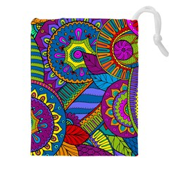 Pop Art Paisley Flowers Ornaments Multicolored Drawstring Pouches (xxl) by EDDArt