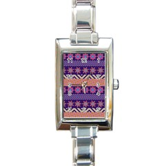 Colorful Winter Pattern Rectangle Italian Charm Watch by DanaeStudio