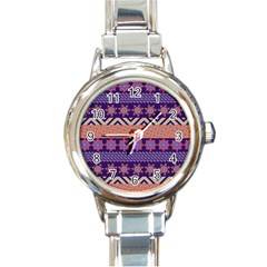 Colorful Winter Pattern Round Italian Charm Watch by DanaeStudio