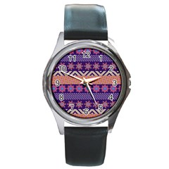 Colorful Winter Pattern Round Metal Watch by DanaeStudio