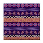 Colorful Winter Pattern Tile Coasters Front