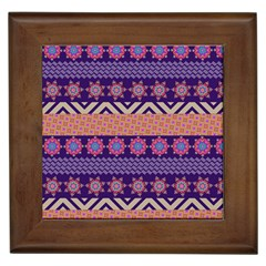 Colorful Winter Pattern Framed Tiles by DanaeStudio