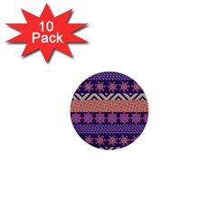Colorful Winter Pattern 1  Mini Buttons (10 Pack)  by DanaeStudio