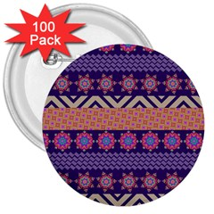 Colorful Winter Pattern 3  Buttons (100 Pack)  by DanaeStudio