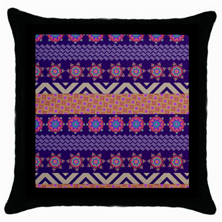 Colorful Winter Pattern Throw Pillow Case (Black)