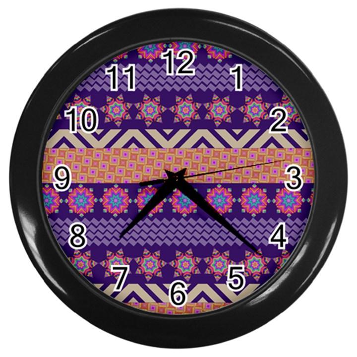 Colorful Winter Pattern Wall Clocks (Black)