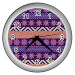 Colorful Winter Pattern Wall Clocks (Silver)  Front