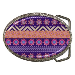Colorful Winter Pattern Belt Buckles by DanaeStudio