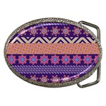 Colorful Winter Pattern Belt Buckles Front