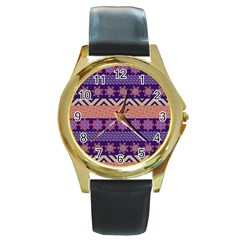 Colorful Winter Pattern Round Gold Metal Watch by DanaeStudio