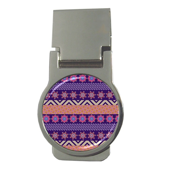 Colorful Winter Pattern Money Clips (Round)
