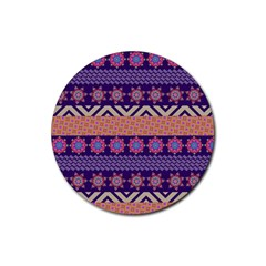 Colorful Winter Pattern Rubber Coaster (round)
