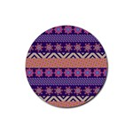 Colorful Winter Pattern Rubber Coaster (Round)  Front