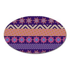 Colorful Winter Pattern Oval Magnet