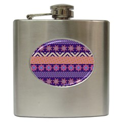 Colorful Winter Pattern Hip Flask (6 Oz) by DanaeStudio