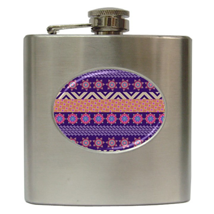 Colorful Winter Pattern Hip Flask (6 oz)