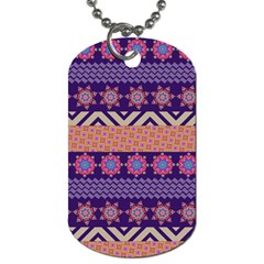 Colorful Winter Pattern Dog Tag (two Sides) by DanaeStudio