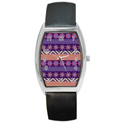 Colorful Winter Pattern Barrel Style Metal Watch by DanaeStudio