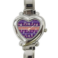 Colorful Winter Pattern Heart Italian Charm Watch by DanaeStudio