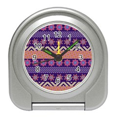 Colorful Winter Pattern Travel Alarm Clocks by DanaeStudio
