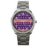Colorful Winter Pattern Sport Metal Watch Front