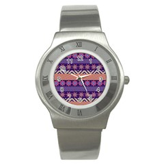 Colorful Winter Pattern Stainless Steel Watch by DanaeStudio