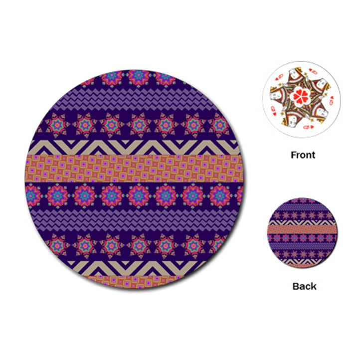 Colorful Winter Pattern Playing Cards (Round)
