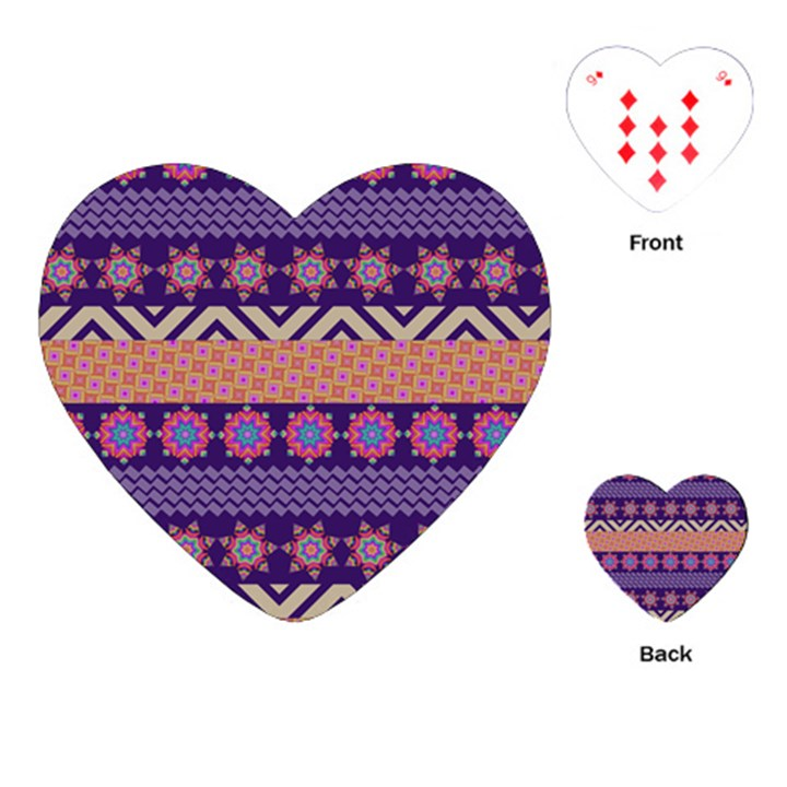 Colorful Winter Pattern Playing Cards (Heart)