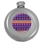 Colorful Winter Pattern Round Hip Flask (5 oz) Front