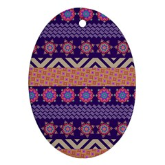 Colorful Winter Pattern Oval Ornament (two Sides) by DanaeStudio
