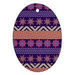 Colorful Winter Pattern Oval Ornament (Two Sides) Back