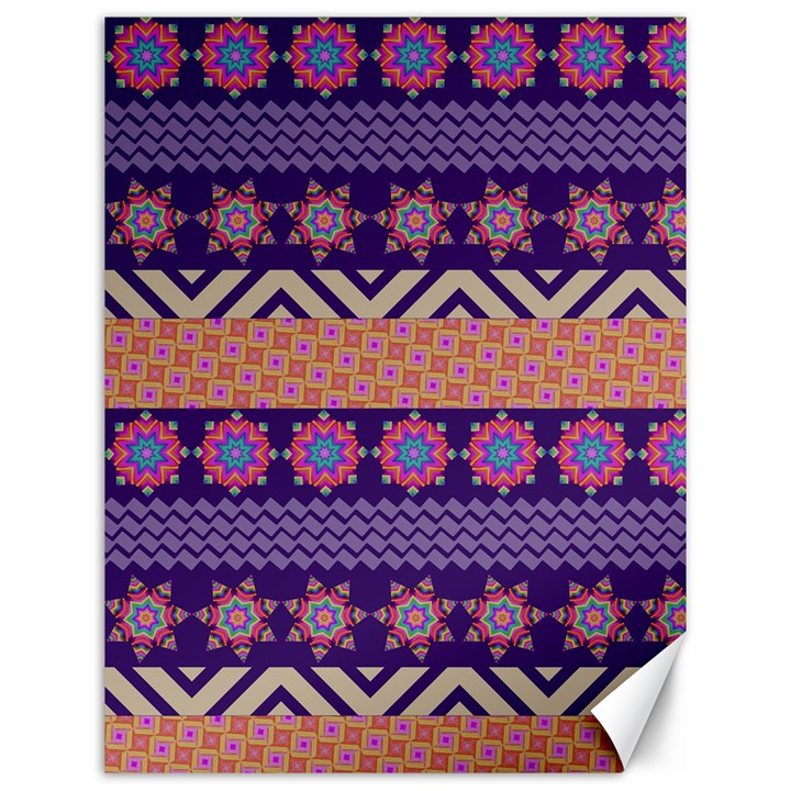 Colorful Winter Pattern Canvas 12  x 16