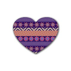Colorful Winter Pattern Rubber Coaster (heart)  by DanaeStudio