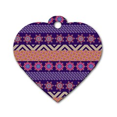 Colorful Winter Pattern Dog Tag Heart (two Sides) by DanaeStudio