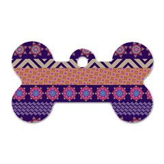 Colorful Winter Pattern Dog Tag Bone (two Sides) by DanaeStudio