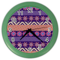 Colorful Winter Pattern Color Wall Clocks by DanaeStudio